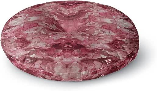 "KESS InHouse Ebi Emporium ""扎染螺旋,红色""勃艮*抽象圆形地板枕,58.42cm x 58.42cm 多种颜色 26"" x 26"" JD1295ARF02"