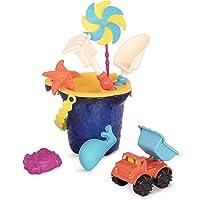 B.Toys Sands Ahoy - 海滩玩具套装 - 中号水桶套装(海军蓝),配有9种独特的沙子和水上玩具 - 不含…