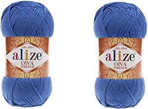 Alize Diva 拉伸纱线手工编织 2 根纱线 200 克 875 码弹性超细纤维丙烯酸弹性比基尼纱线 132 Alz152