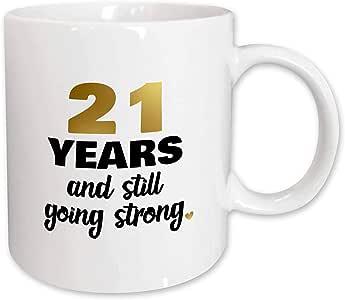 3dRose 马克杯_274364_2 21 Years Still Going Strong Twenty First 21 st 结婚纪念日礼物,陶瓷,白色