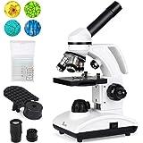 TELMU 显微镜 40X-1000X 双无线 LED 照明实验室化合物单筒望远镜带光学玻璃镜头和 10 个滑块