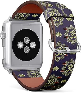 (佛像坐印度冥想闭眼图)图案皮革腕带,适用于 Apple Watch 系列 4/3/2/1 Gen,可替换 iWatch 38mm / 40mm 表带