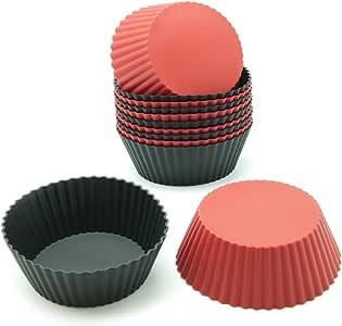 Freshware CB-304RB 12 个装硅胶迷你型圆形可重用蛋糕和松饼烘烤杯,黑色和红色