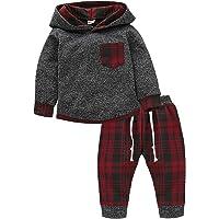童装男婴女孩秋季服装冬季长袖格子口袋连帽运动衫夹克衫+裤子套装