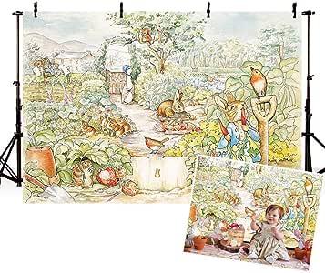 COMOPHOTO 17.78x12.70cm 摄影背景婴儿儿童卡通主题 生日聚会横幅照片展台背景适用于工作室道具