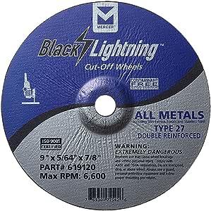 Mercer Industries 619120 类型 27 压铸中心双加固切割轮,所有金属切割,包括 SS,25 包,22.86 cm x 1.59 cm x 2.22 cm