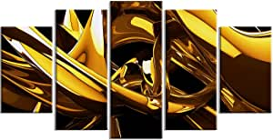 "Designart Red VS 蓝色抽象金属墙体艺术 - MT3023-48x28-4 片 60x32"" - 5 Panels Diamond Shape MT3023-373"