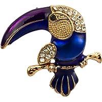 Knighthood 皇家蓝金色和施华洛世奇细节考究牛巴鲁拉鸟配紫色胸针