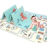 婴儿双面游戏垫 78.7 英寸 x 59 英寸 x 0.4 英寸 双面爬行垫 可折叠防水*便携 不含双酚 A 婴儿和儿童 Car tracks 78.7''x 59''x0.4''