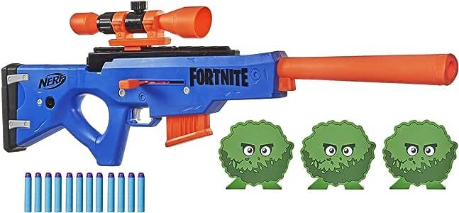 NERF Fortnite BASR-R Bolt 动作玩具枪 -- 包括 3 个灌木靶、可拆卸瞄准镜、6 个软头弹夹、6 个官方精英软头弹(亚马逊销售)