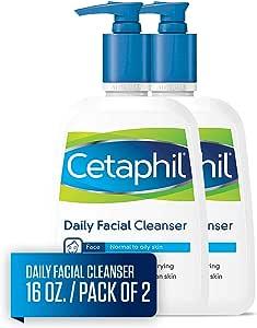 Cetaphil 丝塔芙 日常洁面乳,适合中性至油性皮肤,16液体盎司/473毫升(2件)