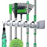LETMY 扫帚支架壁挂式 - 拖把和扫帚挂钩架 - 车库存储架和花园工具收纳 - 5 位置 6 个挂钩适用于家庭、厨房、花园、工具、车库收纳 灰色 001 Letmy-mh-01