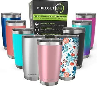 CHILLOUT LIFE 不锈钢玻璃杯 带盖子和礼品盒(不锈钢酒杯) 玫瑰金 20 OZ CHILLOUT050