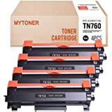 MYTONER TN760 兼容硒鼓替换件适用于 Brother TN-760 TN 760 TN730 与 HL-L2350DW HL-L2395DW Hl-L2390DW Mfc-L2750DW L2710DW DCP-L2550DW(黑色,4 件装)