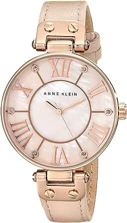ANNE KLEIN 女式玫瑰 goldtone 超大表盘皮带手表
