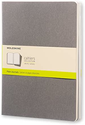 Moleskine Soft Grey Plain Cahier Extra Large Journal (3 Set)