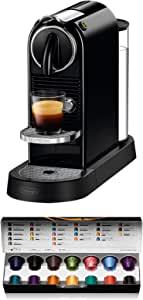 De'Longhi 德龙 Nespresso Citiz EN167.B 胶囊咖啡机,高压泵和理想的热温控制,无需Aeroccino(牛奶起泡剂),节能功能,黑色
