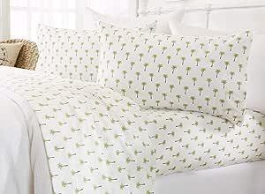 Great Bay 家用印花海岸超细纤维床单。 防皱,深口袋,海滩主题床单套装。 Newport 系列 棕榈树 全部