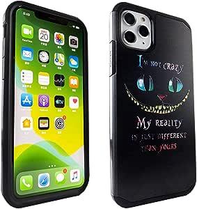 iPhone 11 Pro Max 手机壳,IMAGITOUCH 2 件式盔甲手机壳弹性减震手机壳和设计硬壳混合保护套适用于 iPhone 11 Pro Max 6.5 英寸 (2019) Alice in Wonderland Cheshire Cat Quotes Hybrid