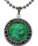 圣克里斯托弗冲浪项链,大号吊坠,绿色带黑色边缘,58.42 厘米球链