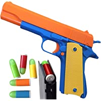 Colt 1911 玩具枪 带软弹子弹和喷射杂志。 M1911 的实际尺寸,带滑梯动作橙色桶,用于训练或玩耍 Colt 1911