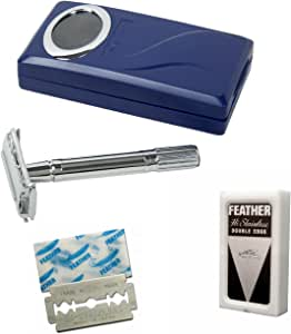 SF120fea-Shaving Factory Double Edge Safety Razor and 5 Feather Platinum Stainless Steel Blades