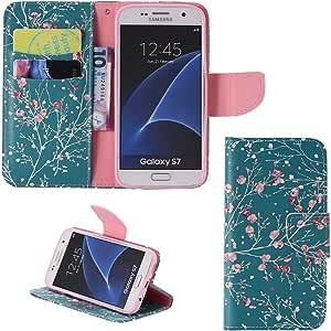 GALAXY S7手机壳, ahere GALAXY S7钱包手机壳,奢华时尚风格 PU 皮革钱包翻盖保护套手机套带支架和带卡槽适用于 Samsung Galaxy S7 Wintersweet