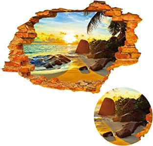 uxcell PVC 家庭房间可移除防水 3D 魔法 DIY 装饰墙艺术贴纸 贴花 阳光沙滩 35.4 inch x 23.6 inch a16102800ux0298