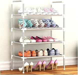 Aggice 4 层鞋架带编织织物鞋储物柜塔 灰色 4 Tiers