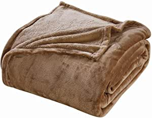Chezmoi 系列法兰绒超细纤维毛毯 - 超柔软舒适轻质床毯 灰褐色 Queen