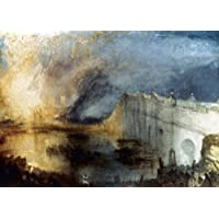 Turner Burning 政治 NThe Burning Of The Houses Of Lords And Commons 1834 年 10 月 16 日 1834 年 10 月 16 日帆布油画,作者 Joseph Mallord William Turner 创作,海报印刷品 (18 x 24)