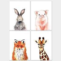Todo Bien Design Inc 家庭墙饰花卉动物水彩艺术印刷品育儿艺术品 - 无框 ANIMAL-1 5x7