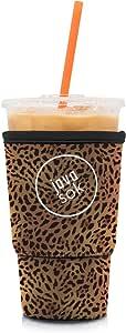 JAVA SOK 可重复使用咖啡套 - 冰饮料和杯套 隔热氯丁橡胶套| 适合所有大小的星巴克咖啡、麦克唐纳德、邓肯甜甜圈(更多颜色和尺寸) 豹纹色 Large 32oz