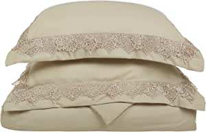 LUXOR TREASURES Super Soft Light Weight, 100% Brushed Microfiber, Twin/Twin XL, Wrinkle Resistant, Tan Duvet Set with Regal Lace Pillowshams in Gift Box