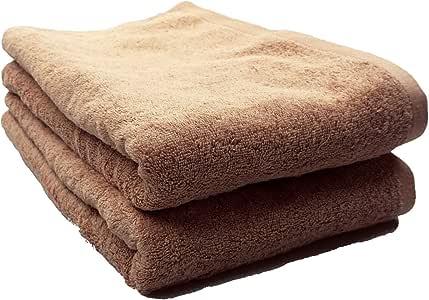 高吸水 *店型 大浴巾 *棉色 驼色 2件装 巧克力棕色 約70x140cm -