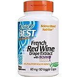 Doctor's Best 法国红葡萄酒葡萄提取物,非转*,素食,不含麸质,不含大豆,90粒素食胶囊 (DRB-0005…