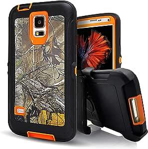 三星 Galaxy S5 手机壳,Kecko® 坚固耐用防震防尘*级防刮混合防刮擦全机身保护套带皮带扣皮套和内置屏幕保护膜,适用于三星 Galaxy S5 手机。 迷彩森林/树木/草坪/黑色/绿色/粉色/蓝色/紫色 Xtra Orange