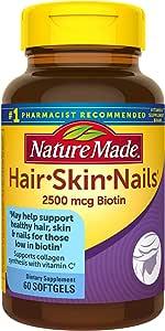 Nature Made 营养素软胶囊 含2500 微克生物素 60粒 利于头发、皮肤和指甲健康(包装随机)