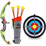 GoBroBrand 儿童蝴蝶结和箭套装 - 绿色发光箭术玩具套装 - 包括 6 个吸盘箭头、目标和 Quiver - 适合 3 -12 岁男孩和女孩