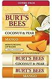 Burt's Bees * 天然保湿唇膏,椰子及梨和芒果,含蜂蜡和水果提取物——2 根管