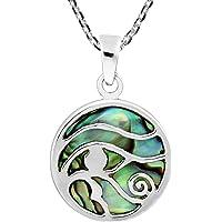 AeraVida 古代符号荷鲁斯之眼鲍鱼壳镶嵌 925 纯银吊坠项链