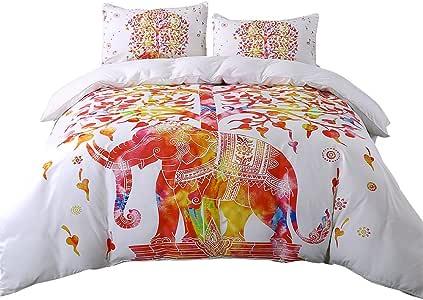 Sleepwish 超柔软被套套装含 2 个枕套,大象曼荼罗图案,波西米亚异域风情图案设计 白色优雅 两个 SBS010589001