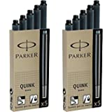 Parker 派克 Quink 钢笔,永久墨水芯,10支,黑色墨水芯(3011031PP)
