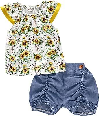 女婴向日葵服装飞行袖连身衣 T 恤上衣荷叶边短裤夏季服装套装
