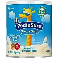 Similac 雅培 PediaSure Grow & Gain无麸质奶昔混合粉,儿童营养奶昔,含蛋白质,DHA,抗氧化剂,以及维生素和矿物质,香草,14.1盎司/400g,6件