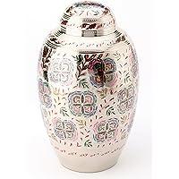 Urns UK 25.4cm 黄铜Cremation Urn 成人 Farnham Flower