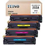 TEINO 兼容硒鼓替换件适用于 HP 202A CF500A CF501A CF502A CF503A 适用于 Color Laserjet Pro MFP M281fdw M281cdw M254dw M280nw(黑色,青色,洋红色,黄色,4 件装)