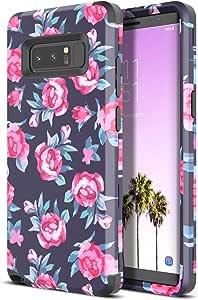 Galaxy Note 8 手机壳,WeLoveCase Galaxy Note 8 手机壳带花朵设计后盖防震三层混合装甲重型 TPU 缓冲全保护壳适用于 Galaxy Note 8Galaxy Note 8 Case Retro Rose