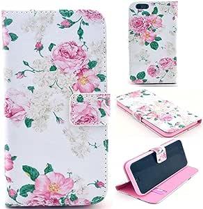 iPhone 7 钱包式手机壳,Pelotek 彩色奢华信用卡/身份证插槽钱包式手机壳适用于 iPhone 7。 (pink flower i7)