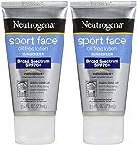 Neutrogena 运动面部无油乳液*霜,* SPF 70+,防汗防水活性*霜,2.5 液体盎司 盎司 2片装